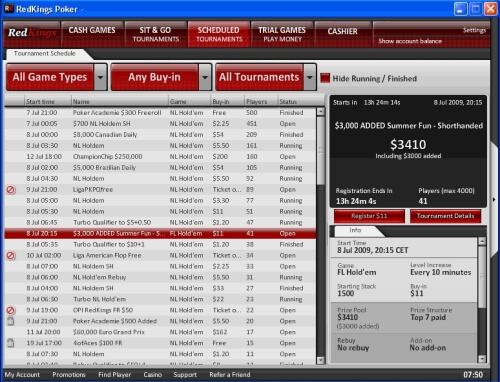 Red Kings Poker Lobby